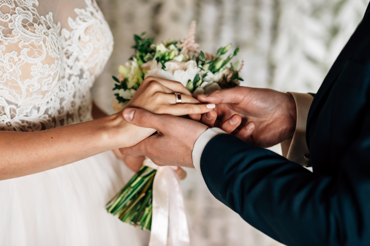 bride and groom placing rings on fingers